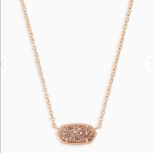 Elisa Rose Gold Pendant Necklace Rose Gold Drusy